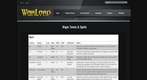 Warlord Army Creator 2.0.1 - Magic Spells Reference Page